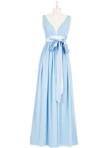 Flirting Sleeveless Chiffon Floor Length Backless Mother Of The Bride Dress in Baby Blue with Ruching and Bowknot