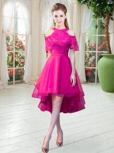 Hot Pink Short Sleeves Lace High Low Mother Of The Bride Dress