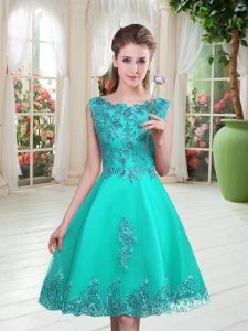 Turquoise Scoop Lace Up Beading and Appliques Mother of Groom Dress Sleeveless