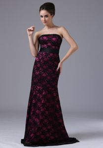 Unique Black And Red Lace Long Mother Dresses for Formal Prom Brush Train