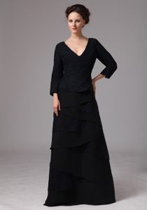 3/4 length Sleeves Black Mother of Bride Dress for Wedding Reception