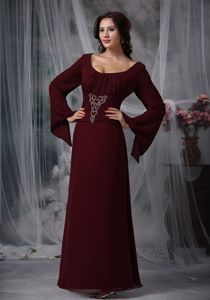 Clearance Long Sleeves Burgundy Dress for Bride Mother in Townsville QLD