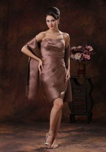 New Ruched Beaded Brown Short Mother Dresses for Prom Fast Shipping