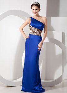 Unique Leopard Print Blue Mother of the Bride Dresses One Shoulder