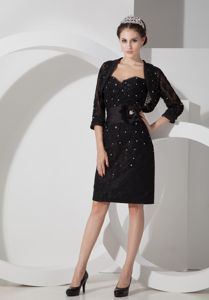 Modest Sweetheart Beaded Knee-length Black Mother Dress in Geelong VIC