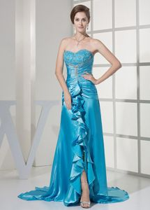 Beautiful Beaded Ruffled Teal Mother Bride Dress for Winter Wedding