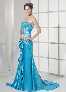 Beautiful Beaded Ruffled Teal Mother Bride Dress For
