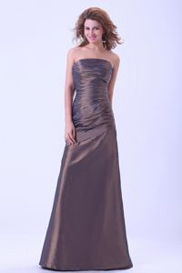 Strapless Ruched Brown Floor-length Dresses for Bride Mother under 150