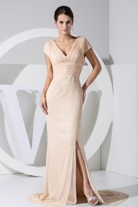 V-neck Cap Sleeves Slitted Champagne Mother of the Bride Dress for Sale