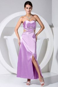 Slitted Beaded Lavender Mother Dresses for Formal Prom with Cutouts
