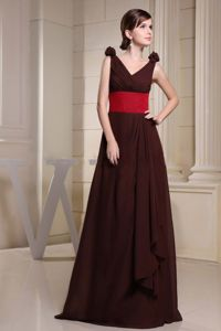 V-neck Brown Maxi Mother of the Bride Dress for Wedding Reception