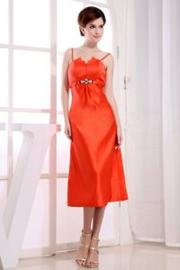 Spaghetti Straps Tea-length Orange Red Mother Dresses for Prom on Sale