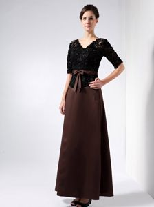 V-neck Half Sleeves Black and Brown Mother Dress in Wollongong NSW