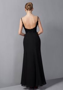 Spaghetti Straps Appliqued Black Mother of Bride Dress in Newcastle NSW