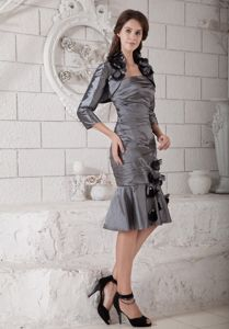 Strapless Ruched Gray Knee-length Mother of Bride Dresses for Clearance