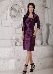 Strapless Purple Short Mother of the Bride Dress for Wedding Reception