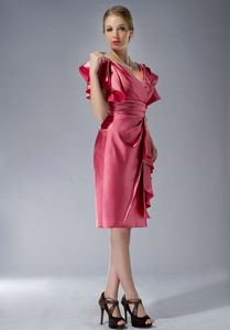 V-neck Knee-length Watermelon Red Mother Dresses for Formal Prom