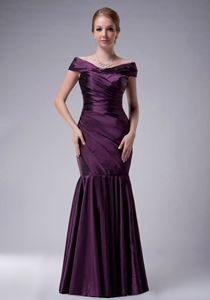 Zipper-up Off The Shoulder Mermaid Mother of Bride Dresses in Purple