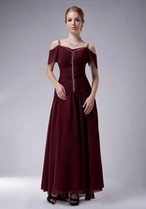Chiffon Burgundy Ankle-length Mother Bride Dress for Autumn Wedding