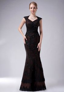 Diamond Neck Appliqued Black Mermaid Mother of Bride Dress in Sydney