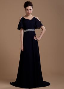 Brush Train Black Mother Dress with Short Open Sleeves in Melbourne