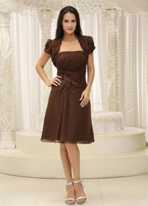 Modest Chiffon Brown Short Mother Bride Dress for Summer Wedding