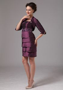 Spaghetti Straps Mini-length Dark Purple Mother Bride Dresses with Embroidery