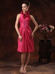 Beaded and Ruched Halter Knee-length Mother Bride Dress in Hot Pink in Oshawa