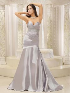 Popular Sweetheart Mermaid Dresses for Bride Mother in Grey with Brush Train