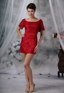 Wine Red Scoop Neck Short Sleeves Mini-length Mother Bride Dresses with Lace