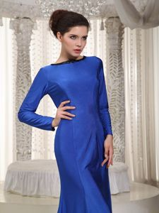 Blue Bateau Neck Mother of the Bride Outfits with Long Sleeves and Brush Train