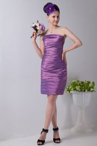 Best Ruched Lavender Strapless Mini-length Dresses for Bride Mother in Nanaimo