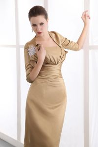 Cheap Gold Column Strapless Knee-length Dresses for Bride Mother in Brampton