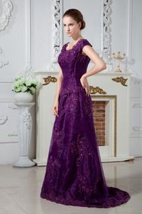 Purple A-line Scoop Brush Train Mother Bride Dress with Appliques in Winnipeg