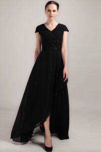 New Black Sheath V-neck Short Sleeves Dresses for Bride Mother in Floor-length