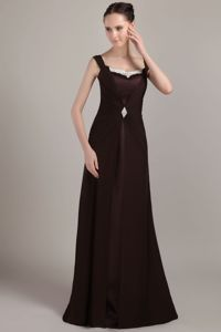 Popular Brown Sheath Square Mother Dresses for Formal Prom with Brush Train