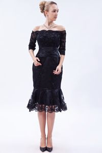 Navy Blue Column Off the Shoulder Tea-length Mother Bride Dress in Coquitlam