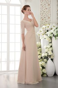 V-neck Floor-length Champagne Mother of the Groom Dresses with Half Sleeves