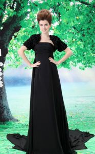 Custom Made Strapless Mother Dress for Formal Prom with Court Train in Black
