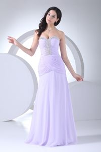 Popular Beaded Lilac Sweetheart Mother Dress for Formal Prom with Brush Train