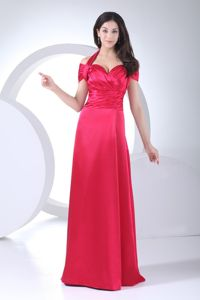 Halter Top Cap Sleeve Red Mother of Bride Dresses in Floor-length in Clarington