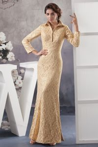 New Champagne Ankle-length Mother of Bride Dress with Long Sleeves and Lace