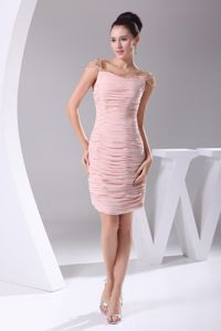Simple Pink Ruched Knee-length Mother Dresses for Formal Prom in Quebec City