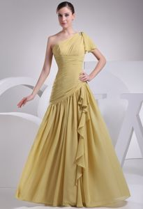 Cheap Yellow One Shoulder Floor-length Mother of Bride Dresses in Mississauga