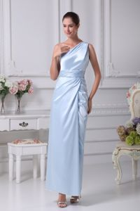 Single Shoulder Ankle-length Light Blue Mother of The Bride Outfit with High Slit