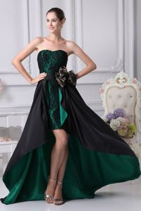 Black and Green Sweetheart High-low Mother Dress for Formal Prom with Lace