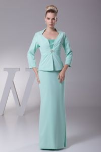 Spaghetti Straps Ankle-length Wedding Outfit for Brides Mother in Apple Green