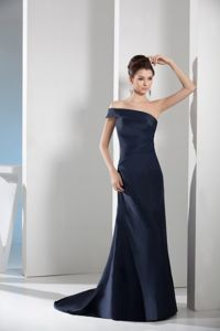 Navy Blue Asymmetrical Shoulder Sweep Train Mother Bride Dress in Richmond