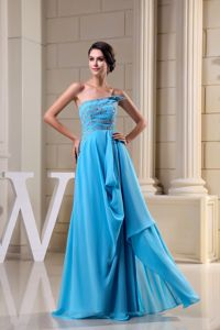 Chiffon Strapless Brush Train Mother of Bride Dresses in Aqua Blue in Oakville