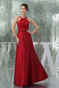 Discount High-Neck Floor-length Mother Bride Dress in Wine Red in Kingston